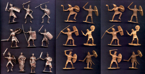 Jecsan Romans in Bronze Color & Reamsa Tan Gauls 16 dif, 22pc 60mm Toy Soldiers