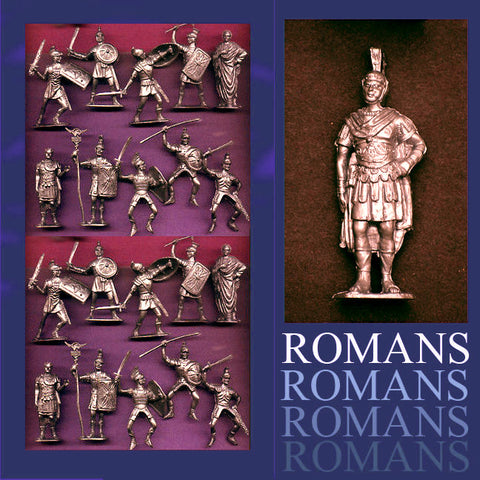Jecsan Ancient Romans in BRONZE Color Plastic - 10 Poses in a set of 21 with General
