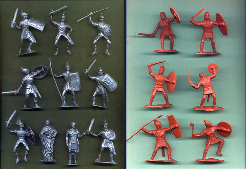 Jecsan Romans & Reamsa Gauls - 10 Romans & 10 Ancient Gauls Plastic Toy Soldiers