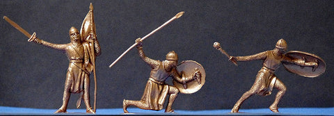 Jecsan Gold Color Plastic Medieval Crusader Knights - 6 per set, 3 poses