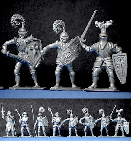 TIMPO - LONE STAR Toy Soldiers 12 ENGLISH KNIGHTS Silver Plastic 54mm Scale