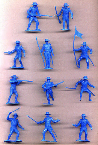 MARX Toy Soldiers 21 Alamo Mexican Sombrero Soldiers - Reissued Blue Plastic Toy Soldiers - Mint