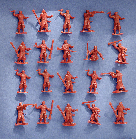 MARX Arabs - Reissued in 30mm in a Rust Brown color -  24 Plastic Toy Soldiers