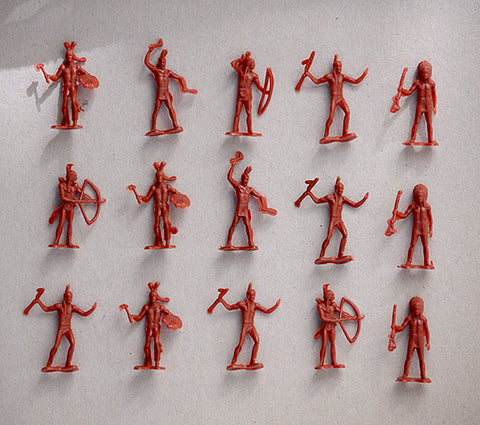 MARX Indian Warriors - Reissued in 30mm in an Red Rust Color -  15 Plastic Warrior Figures
