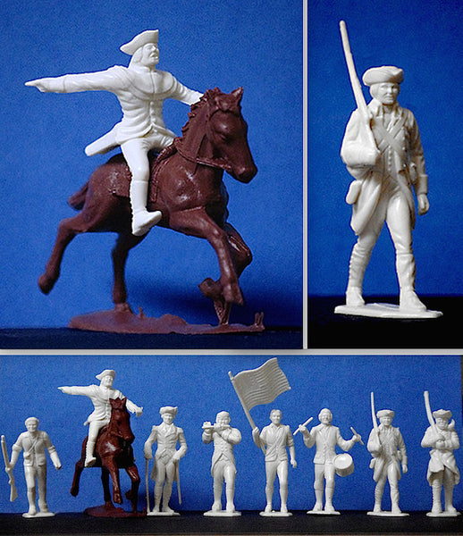 MARX Toy Soldiers Revolutionary War Americans in 60mm - Reissued White Color Plastic Toy Soldiers & Reamsa Horse - Mint