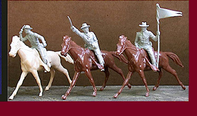 MARX CONFEDERATE CAVALRY in 3 dramatic mounted battle action poses on 3 MARX Cavalry Horses! 6 figures Per Set!
