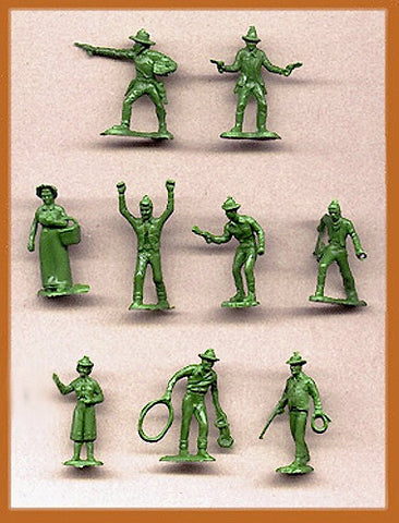 MARX Western Cowboys & Frontier Figures - Reissued in 30mm in an Avacado Green -  30 Plastic Toy Soldiers