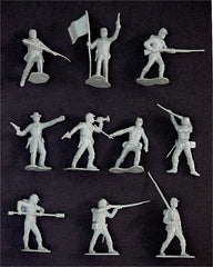 MARX Toy Soldiers 21 Civil War Union in Gray Color - Reissued Gray Plastic Toy Soldiers - Mint