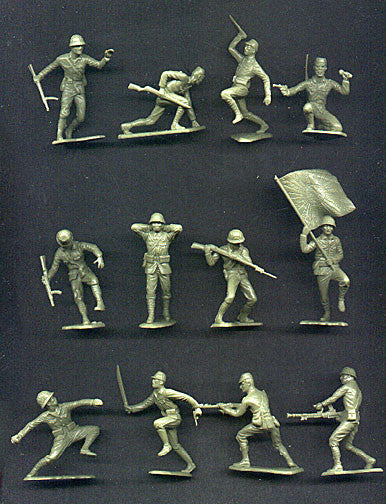 MARX Toy Soldiers - 20 WWII Japanese Soldiers - Reissued in a Custom Military Green Color
