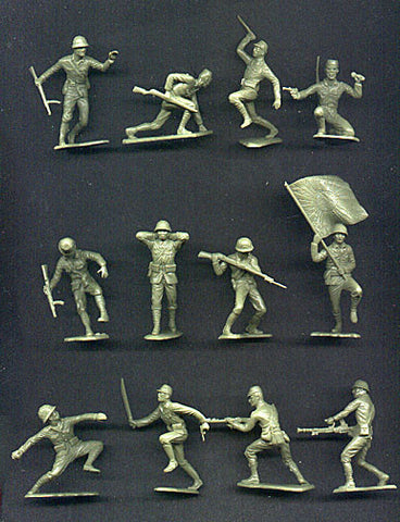 MARX Toy Soldiers - 25 WWII Japanese Soldiers - Reissued in a Custom Military Green Color