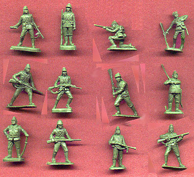 MARX WWII IWO JIMA Japanese Soldiers - Reissued in 30mm in Military Green -  25 Plastic Toy Soldiers