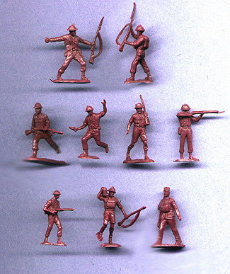 MARX WWII British Soldiers - Reissued in 30mm in a Rust Brown color -  30 Plastic Toy Soldiers