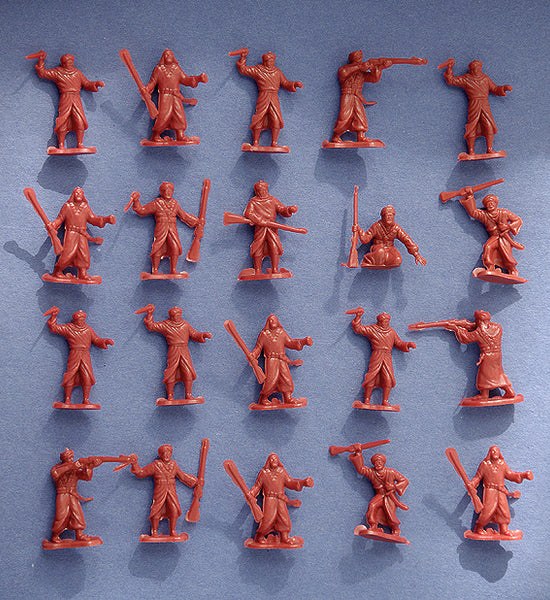 MARX Arab Warriors Reissued in 30mm - 24 Plastic Toy Soldiers in Rust Color Plastic