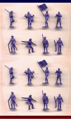 MARX Revolutionary War Patriots - Reissued in 30mm in Blue -  16 Plastic Toy Soldiers