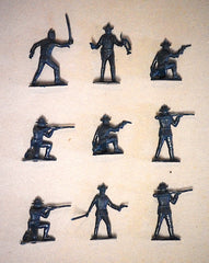 MARX WWII 7TH Cavalry Soldiers - Reissued in 30mm in a Navy Blue -  30 Plastic Toy Soldiers