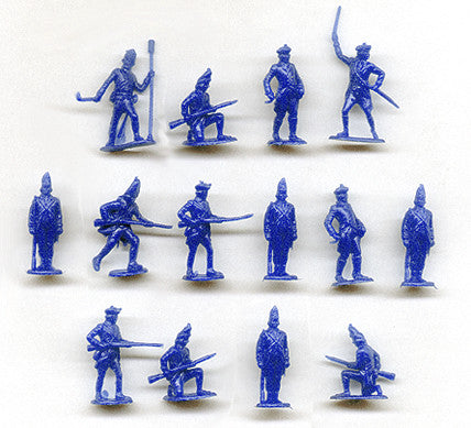 MARX Revolutionary War British - Reissued in 30mm in Blue -  15 Plastic Toy Soldiers