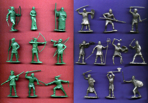 Robin Hood in Green & Knights in Silver Color Plastic, 34 MARX TOY SOLDIERS Reissued