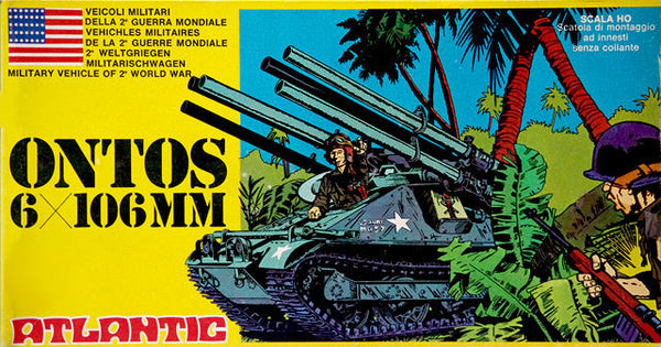ATLANTIC WWII ONTOS - 2 Recoilless Rifle Armored Vehicles MIB 70s MINT in 1/72 - HO Scale
