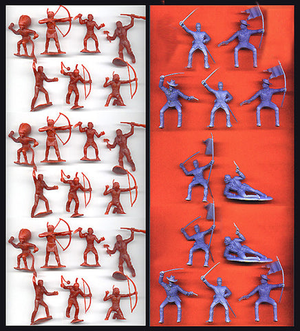 Reamsa 7TH Cavalry Soldiers & MARX Indians in durable plastic, 33 piece Toy Soldier set in 60mm