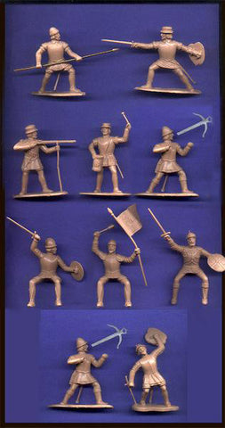 REAMSA CONQUISTADORS - 12 Plastic Toy Soldiers in 11 poses  60mm TAN Color Plastic
