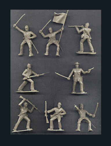 Reamsa 60mm CONFEDERATE CIVIL WAR SOLDIERS IN BUTTERNUT/GRAY - 10 Soldiers in 8 Great Poses!