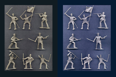 Reamsa Civil War Confederate Soldiers, 16 Toy Soldiers Reissued in COOL GRAY & WARM GRAY Plastic 60mm