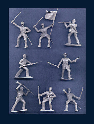 Reamsa 60mm CONFEDERATE CIVIL WAR SOLDIERS IN GRAY - 10 Soldiers in 8 Great Poses!