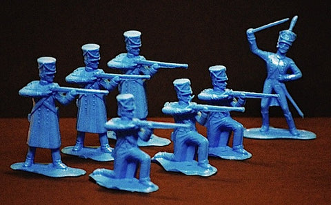 REAMSA 1/32 French Napoleonic Firing Line & Officer Toy Soldiers 7 pc MARX Blue