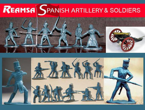 REAMSA 1/32 Spanish Napoleonic Soldiers, 26 Plastic Toy Soldiers & TIMPO Field Cannon