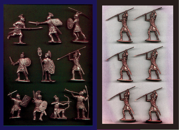 Reamsa Roman Infantry, 16 Plastic Toy Soldiers in Bronze Plastic 60mm