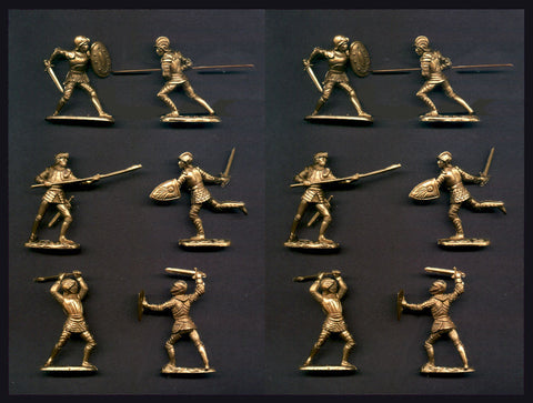 REAMSA Crusader Knights in Gold Color - 6 Foot Poses - 12 Plastic Toy Soldiers