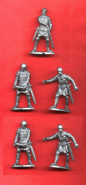 REAMSA MEDIEVAL SIEGE CRUSADER KNIGHTS 5 in 3 poses, 60MM Plastic Toy Soldiers