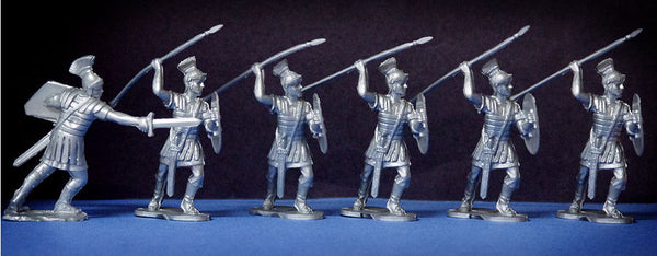 Reamsa Roman Infantry, 6 Toy Soldiers in Silver Plastic 60mm