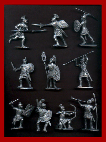 Reamsa Roman Infantry, 10 Toy Soldiers in Silver Plastic 60mm