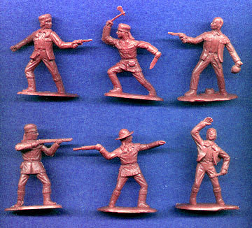 Reamsa Canadian French Trappers, 10 Toy Soldiers in Brown Rust Color Plastic