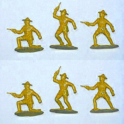 Reamsa Canadian Mounted Police, 6 Toy Soldiers in TAN Color Plastic