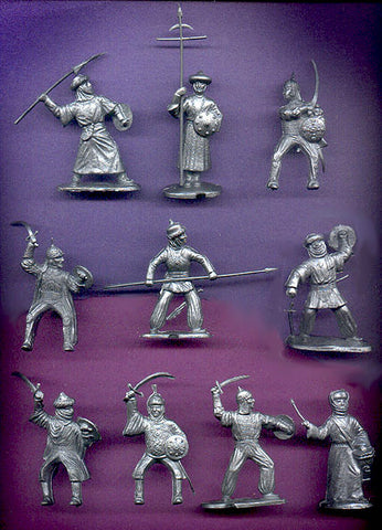 REAMSA Moors Knights Set in Silver Soft Plastic - 12 Figures in 10 Great Toy Soldier Poses!