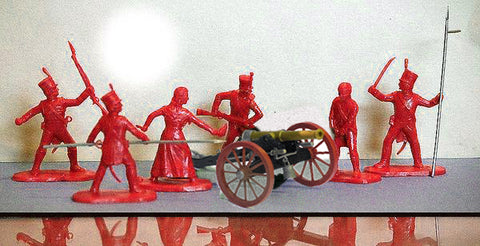 Reamsa 1/32 Spanish Napoleonics in RED -  20 Toy Soldiers in 6 poses & 1 TIMPO Cannon per set