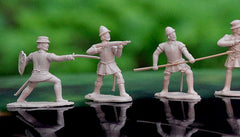 REAMSA CONQUISTADORS - 12 Plastic Toy Soldiers in 12 poses  60mm TAN Color Plastic