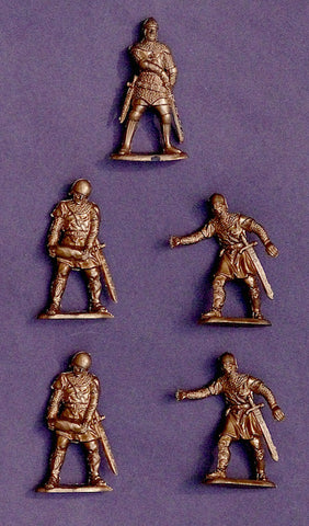 REAMSA MEDIEVAL SIEGE CRUSADER KNIGHTS 5 in 3 poses in Gold color plastic, 60MM Plastic Toy Soldiers