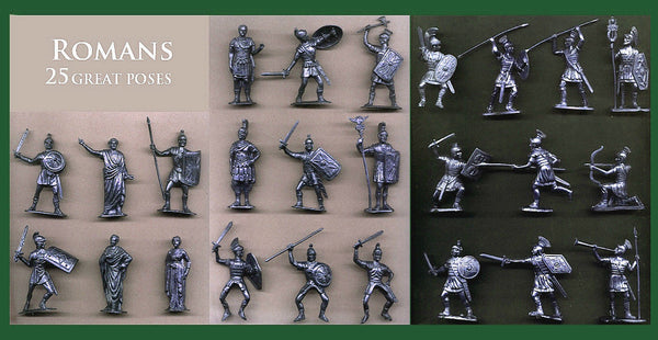 Reamsa & Jecsan Romans 25 different poses - 25 Silver Color Plastic Toy Soldiers