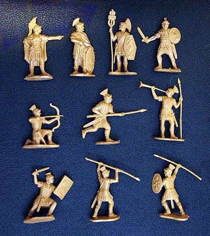 Reamsa Roman Infantry, 10 Toy Soldiers in Tan Plastic 60mm
