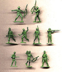 MARX WWII British Soldiers - Reissued in 30mm in an Army Green -  30 Plastic Toy Soldiers
