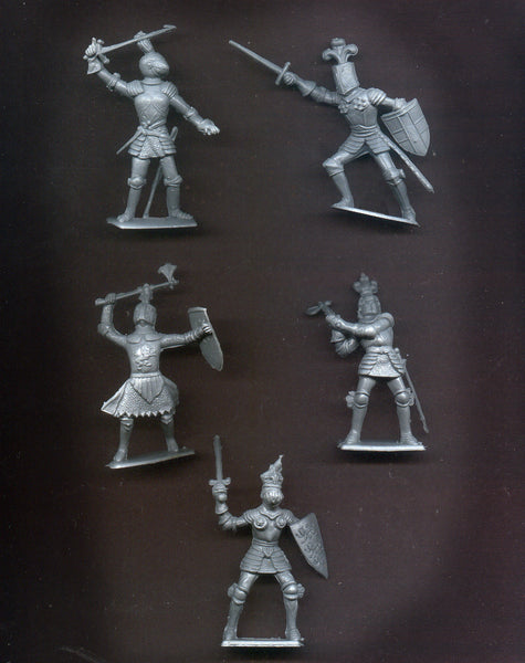 CHERILEA KNIGHTS - 60mm - 10 Gray Color Plastic Knights in 5 battle poses
