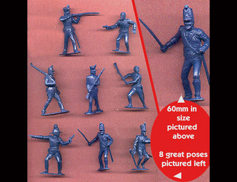 MARX Toy Soldiers 10 ALAMO Mexicans of the 1840s - Reissued Blue Mexican Army Figures - Mint