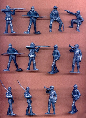 MARX Toy Soldiers 12 Civil War Union Toy Soldiers - Reissued Blue Plastic Toy Soldiers - Mint