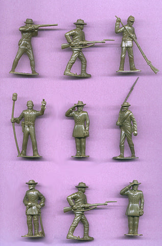 MARX Toy Soldiers 9 Civil War Confederate Toy Soldiers - Reissued Gray Plastic Toy Soldiers - Mint