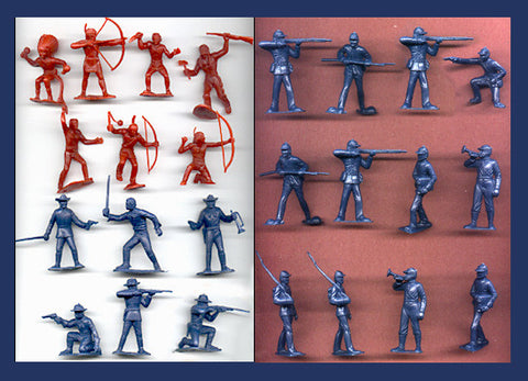 Marx 7TH Cavalry Soldiers & Union Army with MARX Indians in durable soft plastic, 42 piece Plastic Toy Soldier set in 60mm