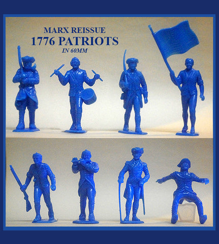 MARX Toy Soldiers Revolutionary War Americans in 60mm - Reissued Medium Blue Color Plastic Toy Soldiers & Reamsa Horse - Mint