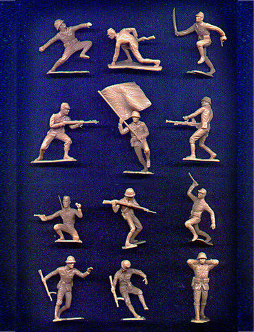 MARX Toy Soldiers - 22 WWII Japanese Soldiers - Reissued in a Custom Military Tan Color